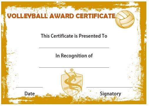 Volleyball Award Certificate   Certificate Templates, Awards intended for Quality Volleyball Mvp Certificate Templates