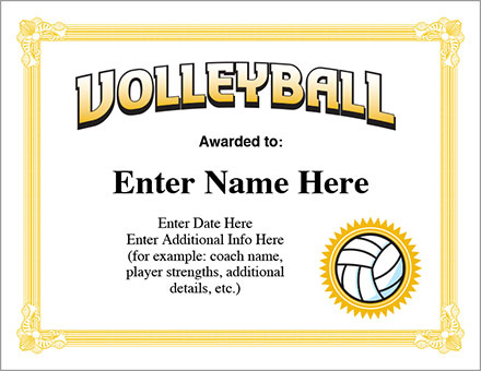 Volleyball Award Certificate – Free Award Certificates Intended For Best Volleyball Participation Certificate