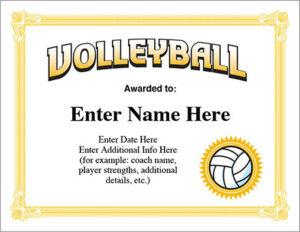 Volleyball Award Certificate – Free Award Certificates regarding Quality Volleyball Award Certificate Template Free