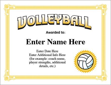 Volleyball Award Certificate - Free Award Certificates regarding Quality Volleyball Award Certificate Template Free