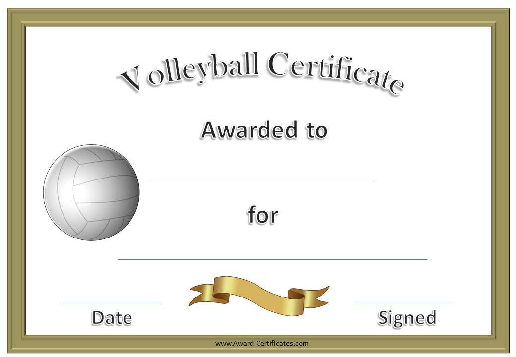 Volleyball Awards | Coaching Volleyball, Volleyball intended for Fresh Volleyball Certificate Template Free