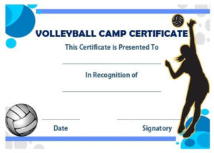 Volleyball Camp Certificate | Award Template, Volleyball in Volleyball Award Certificate Template Free