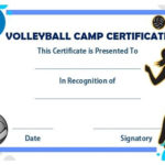 Volleyball Camp Certificate | Award Template, Volleyball With Volleyball Participation Certificate