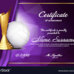 Volleyball Certificate Diploma With Golden Cup Vector Image With Regard To Volleyball Tournament Certificate