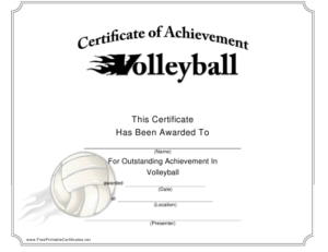 Volleyball Certificate Of Achievement Template Download with regard to Volleyball Certificate Templates