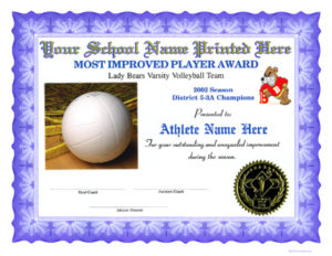 Volleyball Certificates within Quality Volleyball Mvp Certificate Templates