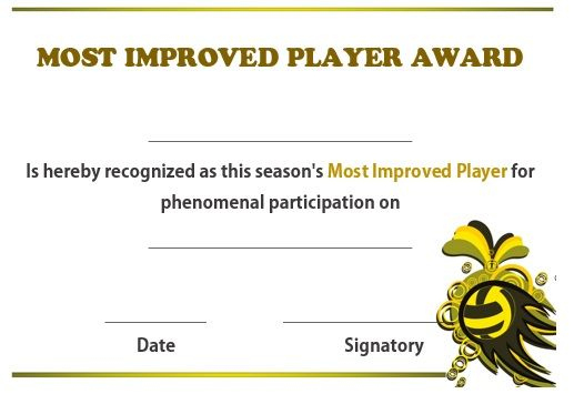 Volleyball Most Improved Player Award | Certificate with regard to Most Improved Player Certificate Template