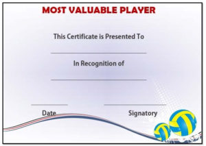 Volleyball Mvp Award Template   Award Template, Templates with Quality Volleyball Mvp Certificate Templates