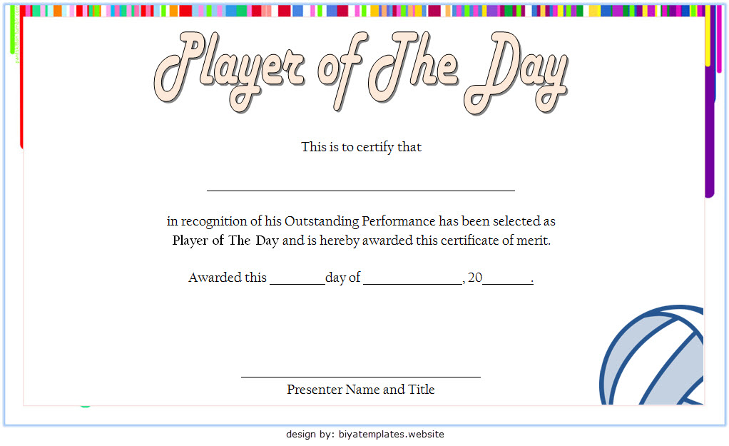 Volleyball Player Of The Day Certificate Template Free for Player Of The Day Certificate Template Free