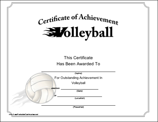 Volleyball Printable Certificate | Volleyball, Life Coach throughout Unique Volleyball Tournament Certificate