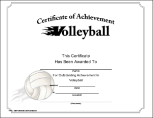 Volleyball Printable Certificate | Volleyball, Life Coach within Quality Volleyball Award Certificate Template Free