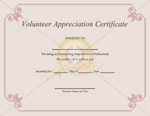 Volunteer Appreciation Certificate Template – Certificate intended for Volunteer Award Certificate Template