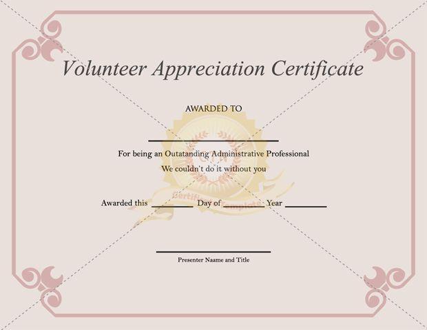 Volunteer Appreciation Certificate Template - Certificate intended for Volunteer Award Certificate Template