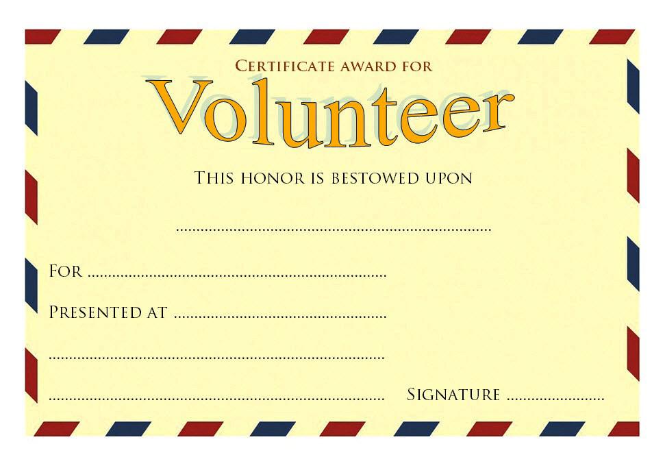 Volunteer Award Certificate Template (2) - Templates Example regarding Best Volunteer Of The Year Certificate Template