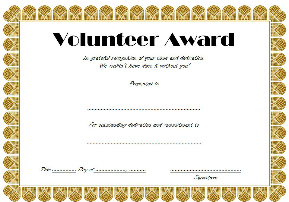 Volunteer Award Certificate Template (3) – Templates Example Inside Best Volunteer Of The Year Certificate Template