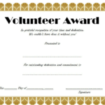 Volunteer Award Certificate Template (3 With Regard To Regarding Unique Volunteer Of The Year Certificate 10 Best Awards
