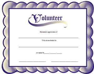 Volunteer Certificate Printable Certificate | Volunteer Regarding Volunteer Of The Year Certificate Template