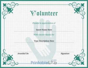 Volunteer Certificate Sample In Silver, Sea Green And Onahau for Unique Volunteer Certificate Template