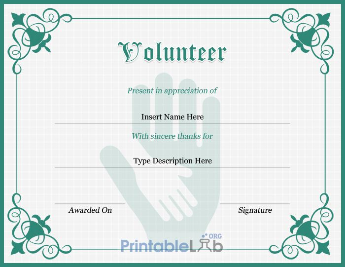 Volunteer Certificate Sample In Silver, Sea Green And Onahau throughout Unique Volunteer Certificate Templates