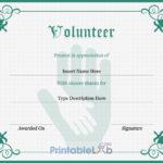 Volunteer Certificate Sample In Silver, Sea Green And Onahau With Regard To Volunteer Certificate Templates