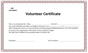 Volunteer Certificate Template – Microsoft Word Templates in Volunteer Certificate Template
