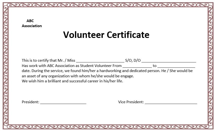Volunteer Certificate Template - Microsoft Word Templates in Volunteer Certificate Template