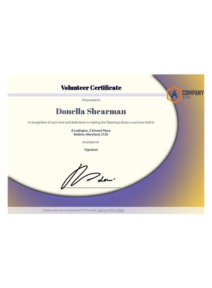 Volunteer Certificate Template - Pdf Templates | Jotform pertaining to Volunteer Award Certificate Template