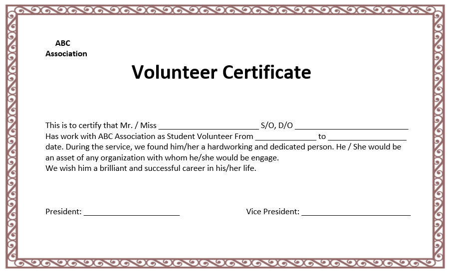 Volunteer Certificate Templates   Word Template, Microsoft within Fresh Volunteer Certificate Templates