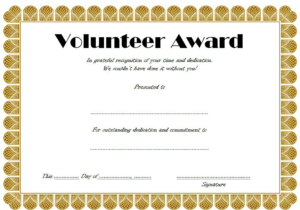 Volunteer Hours Certificate Template Free (4Th Design for Best Outstanding Volunteer Certificate Template