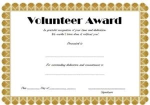 Volunteer Hours Certificate Template Free (4Th Design in Volunteer Award Certificate Template
