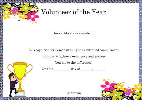 Volunteer Of The Year Certificate Template (4) - Templates regarding Best Volunteer Of The Year Certificate Template