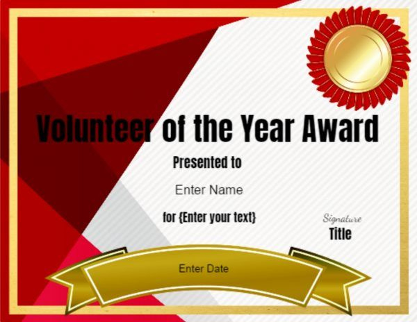Volunteer Of The Year Certificate Template | Editable intended for Best Volunteer Of The Year Certificate Template