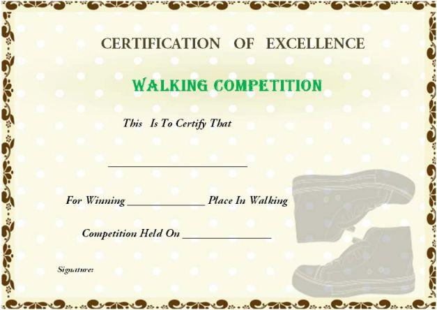 Walking Certificate Templates (5) - Templates Example regarding Walking Certificate Templates