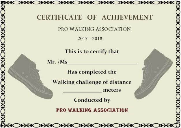 Walking Certificate Templates (7) - Templates Example for Quality Physical Fitness Certificate Template 7 Ideas