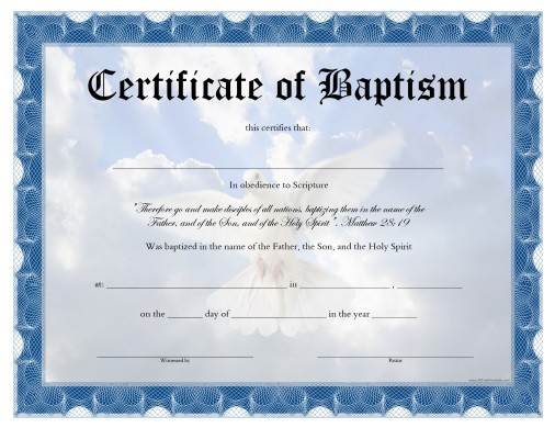 Water Baptism Certificate - Carlynstudio for Baptism Certificate Template Word 9 Fresh Ideas
