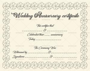 Wedding Anniversary Certificate Template: 22+ Editable throughout Anniversary Certificate Template Free