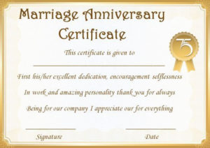 Wedding Anniversary Certificate Templates: 15 Most Beautiful for Anniversary Certificate Template Free