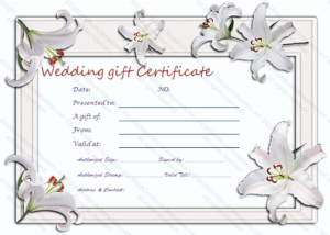 Wedding Gift Certificate Templates for Unique Free Editable Wedding Gift Certificate Template