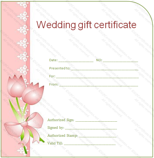 Wedding Gift Certificate Templates | Gift Certificate Templates in Free Editable Wedding Gift Certificate Template