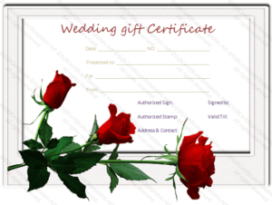 Wedding Gift Certificate Templates throughout Unique Free Editable Wedding Gift Certificate Template