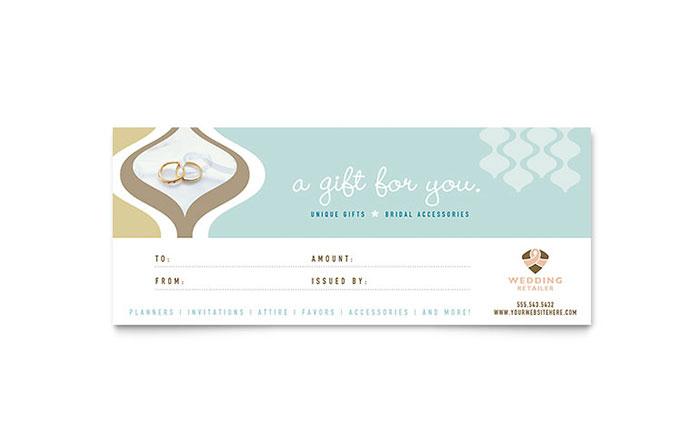 Wedding Store & Supplies Gift Certificate Template Design intended for Gift Certificate Template Indesign