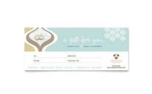 Wedding Store & Supplies Gift Certificate Template Design within Indesign Gift Certificate Template