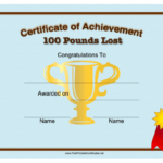Weight Loss 100 Pounds Printable Certificate Within Fresh Weight Loss Certificate Template Free