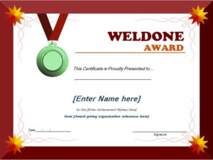 Well Done Award Certificate Template | Word & Excel Templates regarding Unique Well Done Certificate Template