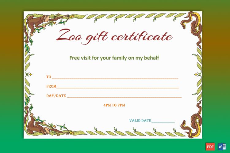 Wild Zoo Gift Certificate Template - Gct pertaining to Unique Zoo Gift Certificate Templates Free Download