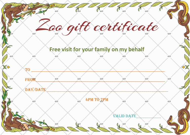 Wild Zoo Gift Certificate Template - Gct with Zoo Gift Certificate Templates Free Download