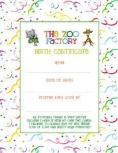 Wish Your Zoo Factory Animal A Happy Birthday! – The Zoo Factory regarding Stuffed Animal Birth Certificate