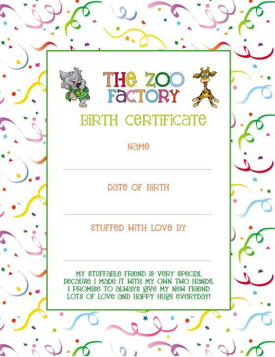 Wish Your Zoo Factory Animal A Happy Birthday! - The Zoo Factory regarding Stuffed Animal Birth Certificate