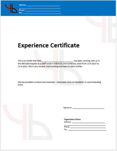 Work Experience Certificate Templates – (4 Free Templates pertaining to New Template Of Experience Certificate