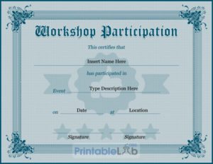 Workshop Participation Certificate Template In Silver with Workshop Certificate Template